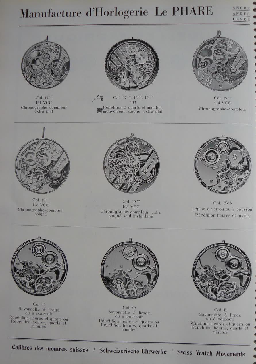 Calibres Le Phare Extrait de la Classification Horlogère 1936 Wisf6
