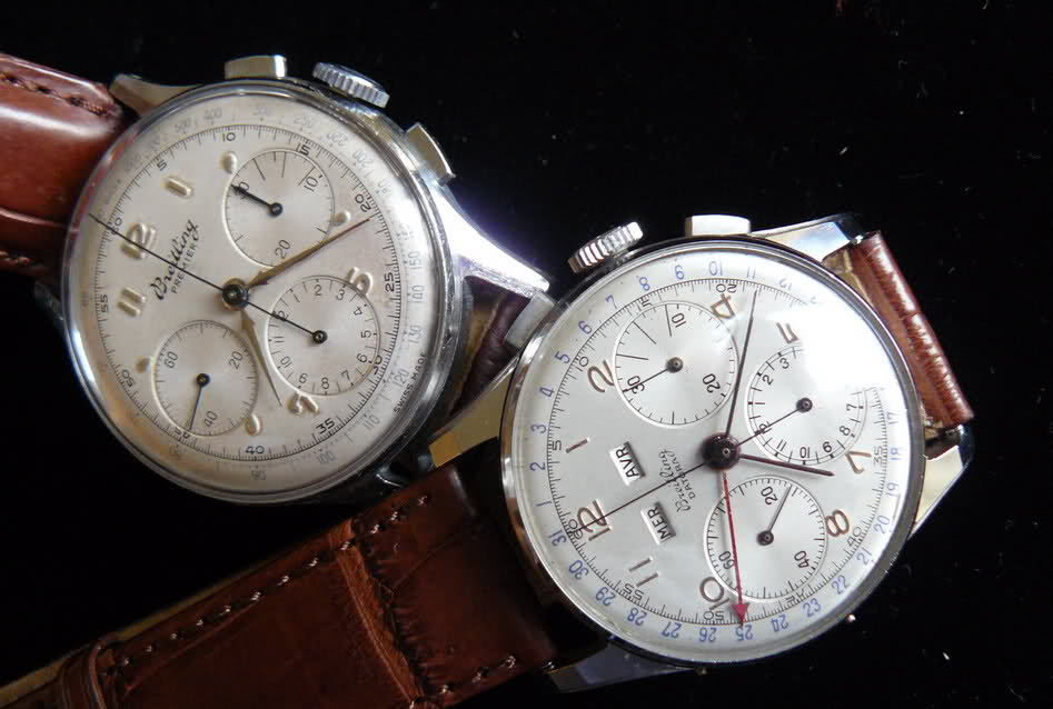 Chronographe Breitling Premier 1946 venus 175 3 compteurs Qqcra8