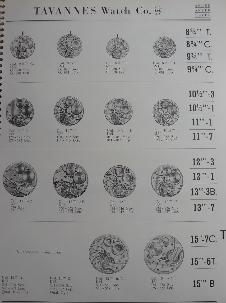 Calibres Tavannes Extrait de la Classification Horlogère 1936 25u2kn7