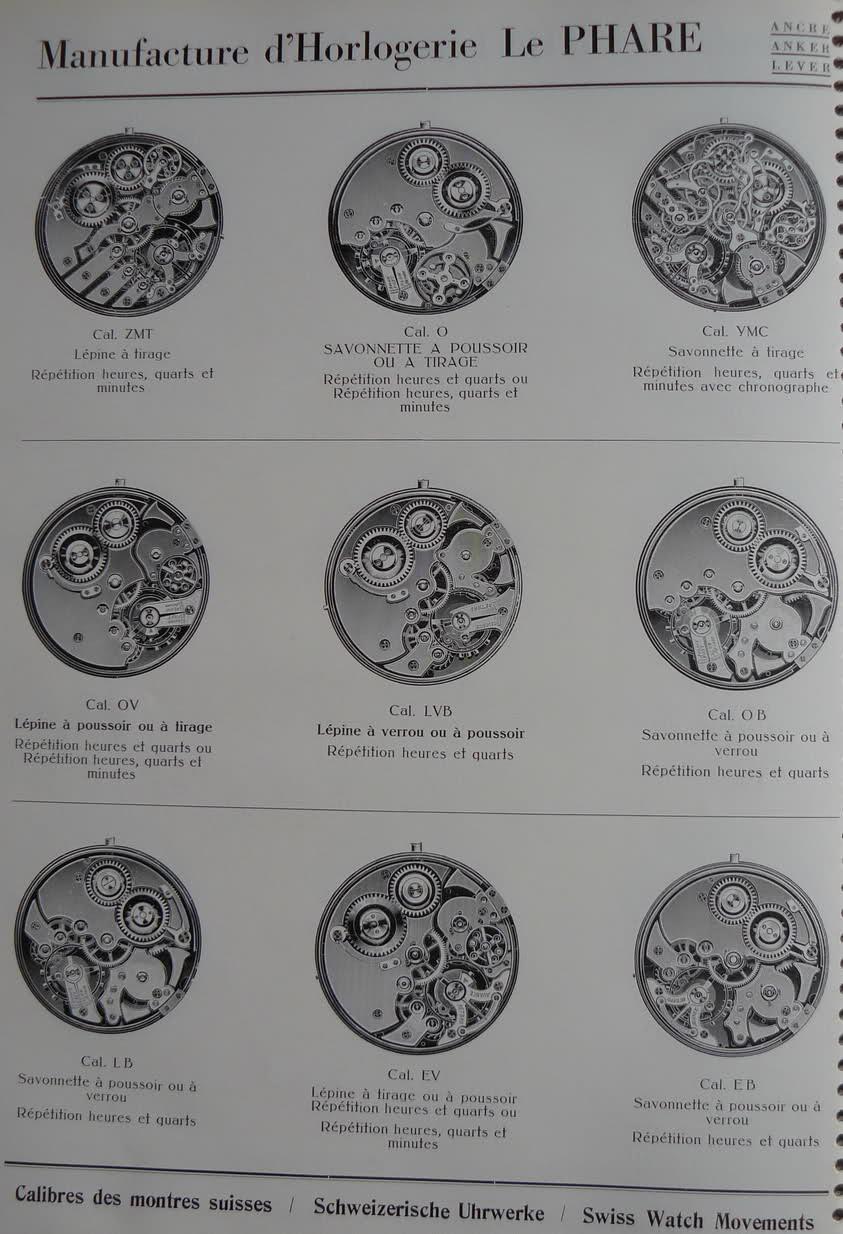 Calibres Le Phare Extrait de la Classification Horlogère 1936 2n718x0