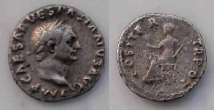 Denario de Vespasiano. COS ITER TR POT. Roma. La destrucción de Pompeya 2rmp4er