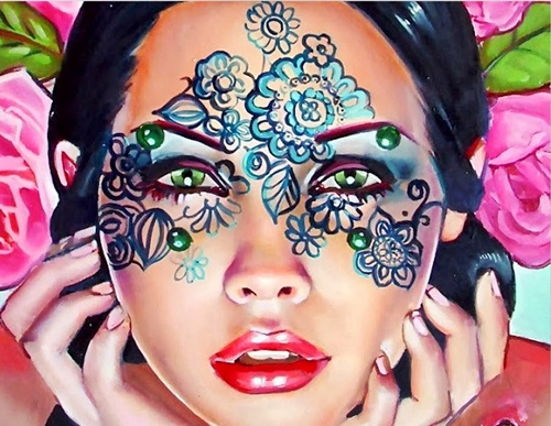 Caras de mujer hechas con flores 23si5gz