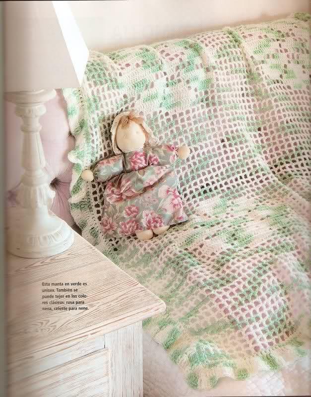 patrones - Patrones de Mantitas para bebés (Tejidas a crochet para Marijou) 24eoqa0