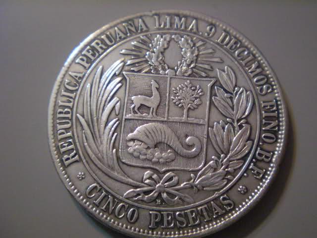 5 Pesetas. Peru. 1880. Lima 21z9yx