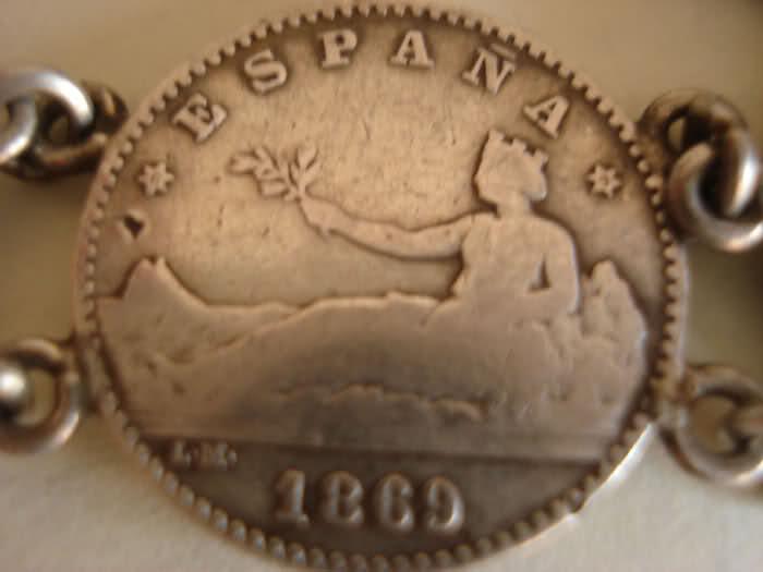 Pulsera de monedas de plata de 50 céntimos de 1869 y 1870 281wnyo