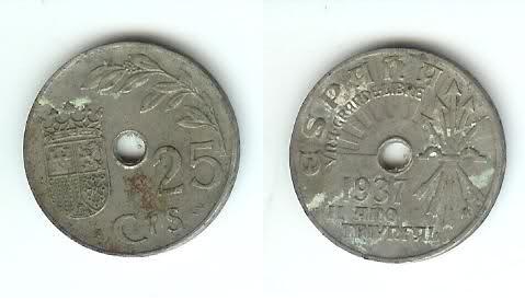 25 céntimos de peseta año 1937 y 10 céntimos de 1870. 2d9pij8