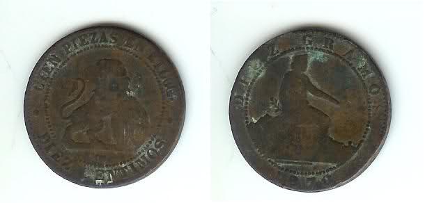 25 céntimos de peseta año 1937 y 10 céntimos de 1870. 34ys108