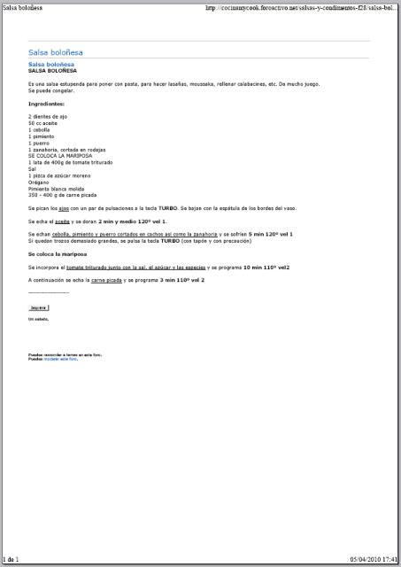 Imprimir el texto de las recetas 5be6o8