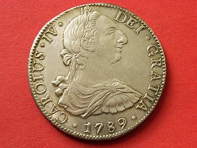 8 Reales 1789. Carlos IV con busto de Carlos III. Ordinal IV. Méjico. Acx07o