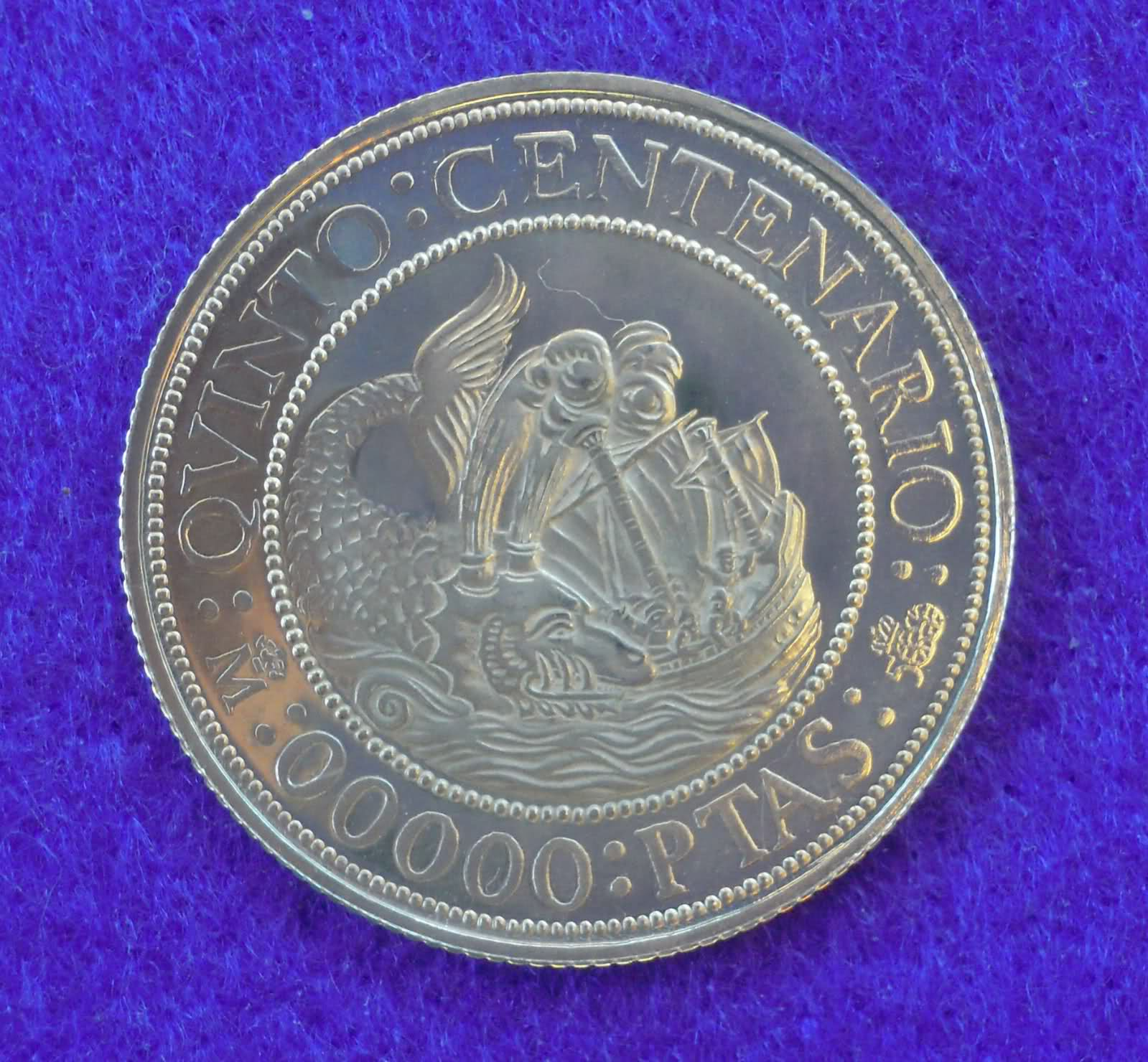 """00000"" Pesetas 1988. Juan Carlos I. Quinto Centenario. B5mhc1"