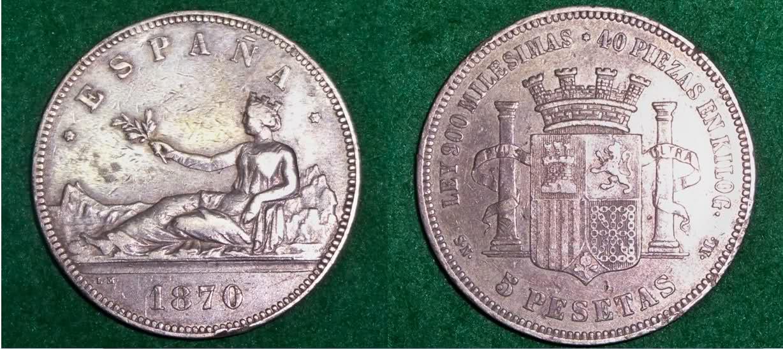 5 Pesetas 1870. SNM. Gobierno Provisional. El Duro de Prim. E0nxio
