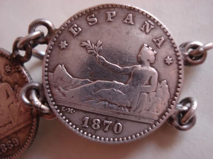 Pulsera de monedas de plata de 50 céntimos de 1869 y 1870 F19j75