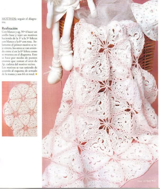 patrones - Patrones de Mantitas para bebés (Tejidas a crochet para Marijou) Scak90