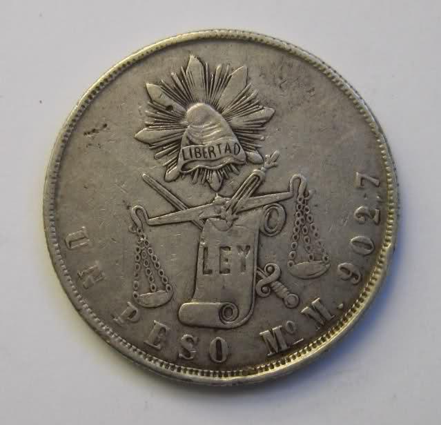 1 peso México 1872 Wwc12e