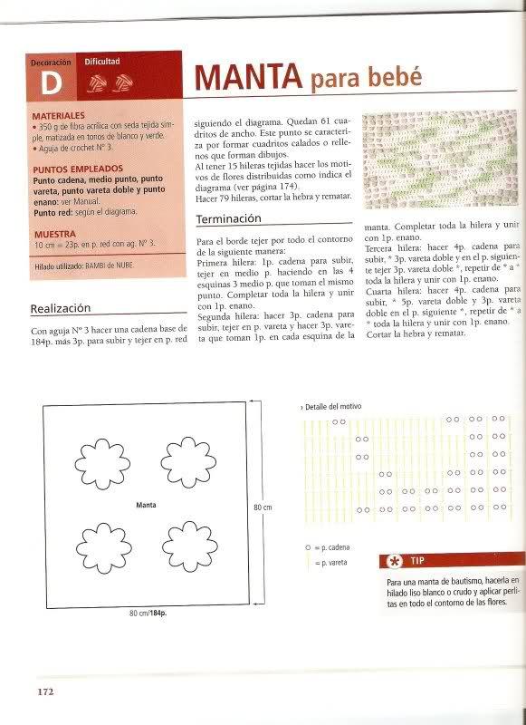 patrones - Patrones de Mantitas para bebés (Tejidas a crochet para Marijou) 197f37