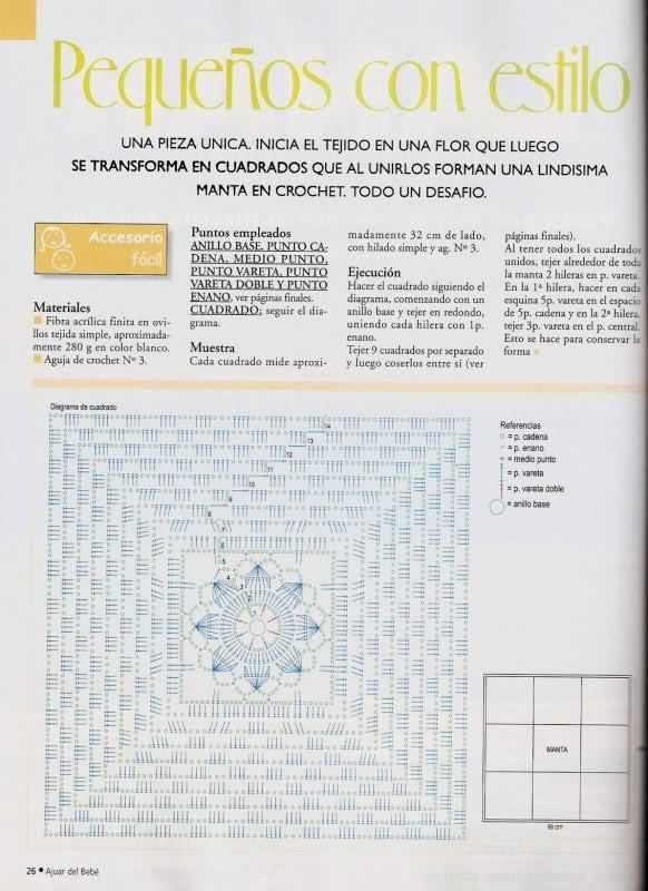 patrones - Patrones de Mantitas para bebés (Tejidas a crochet para Marijou) 2i8j39j
