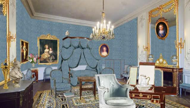 Chambre à coucher du Petit appartement de Marie-Antoinette, au rez-de-chaussée du château de Versailles 32zqtfs