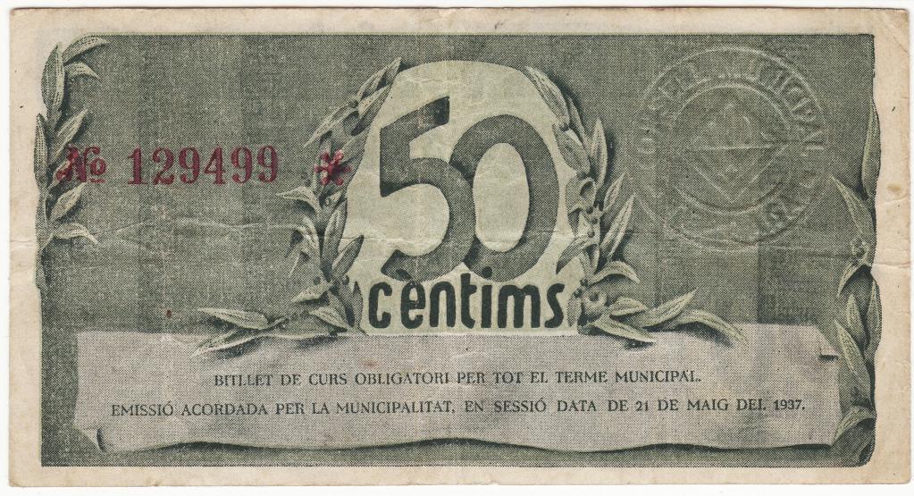 Billetes de la guerra civil en Terrassa. 2hpr8z8