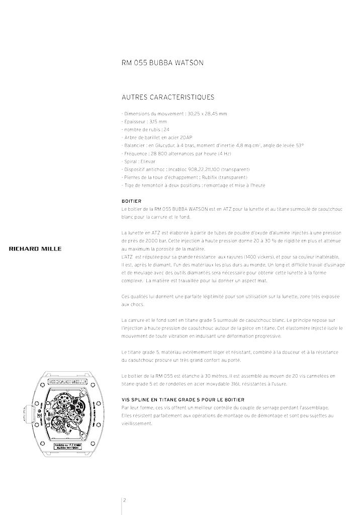 RICHARD MILLE - RM 055 BUBBA WATSON 2ronlsg