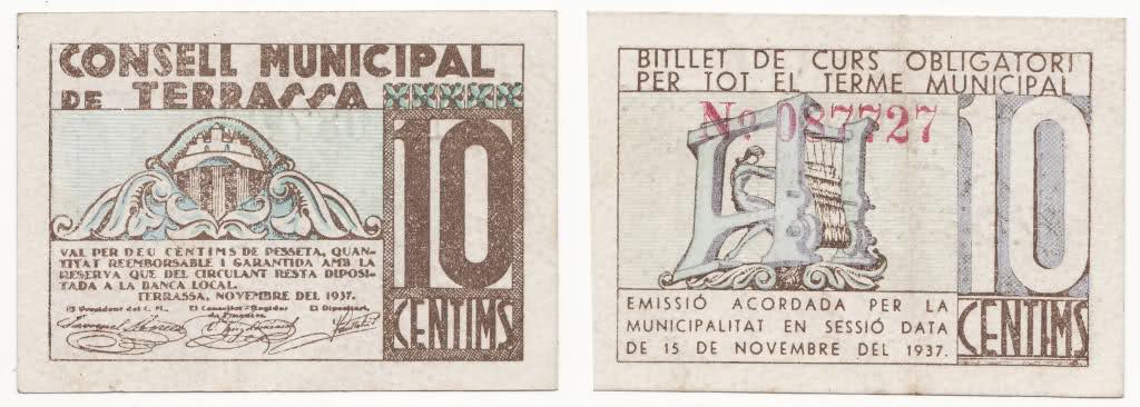 Billetes de la guerra civil en Terrassa. Fbds44