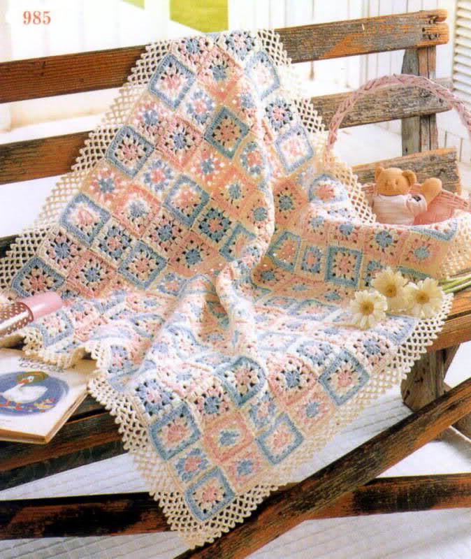 patrones - Patrones de Mantitas para bebés (Tejidas a crochet para Marijou) 14vkzzt