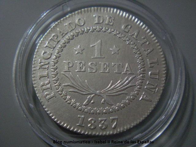 1 Peseta 1837 Isabel II - Barcelona. 15ez8uu