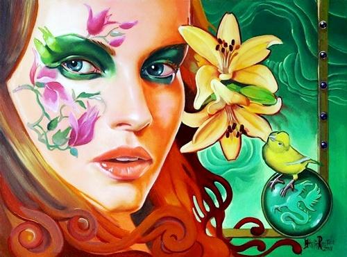 Caras de mujer hechas con flores 24b7y9u