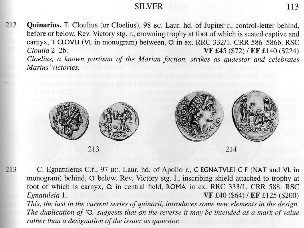 EGNATULEIA(97 avant J.-C.) Caius Egnatulieus Quinaire 30keowk