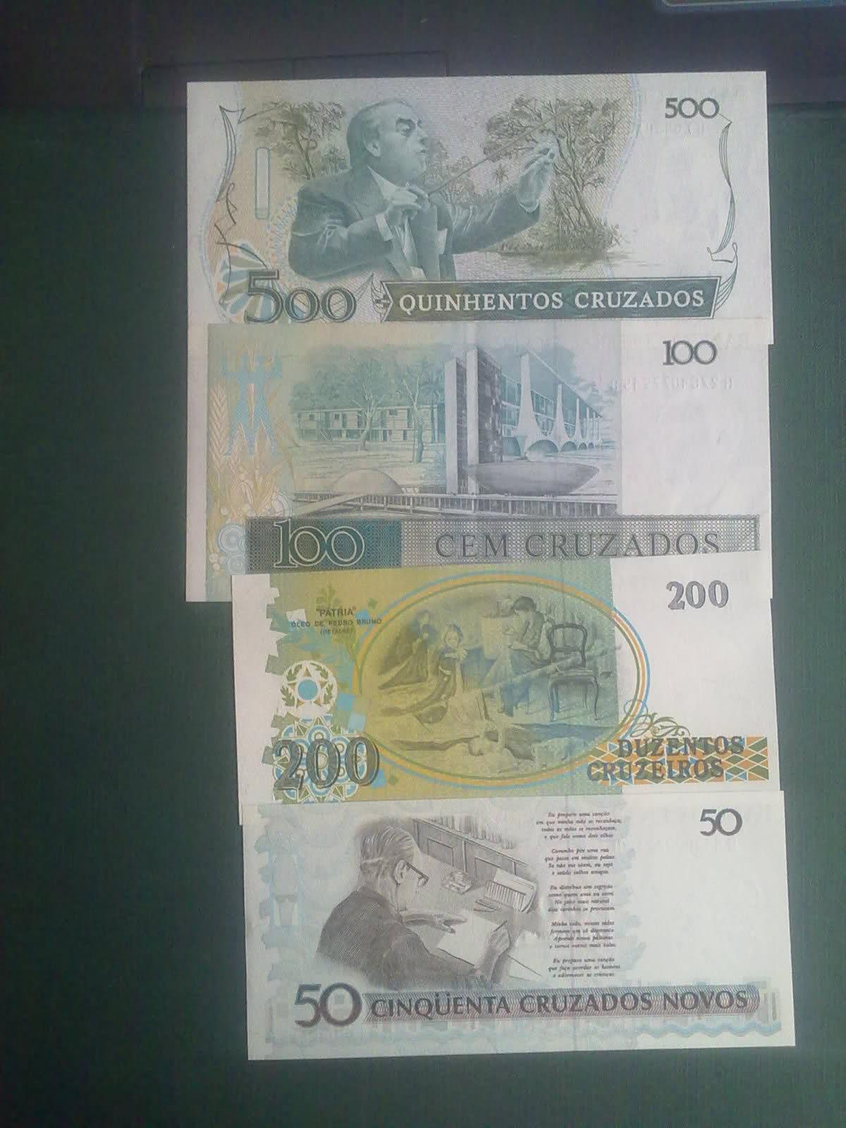 Billetes Brasil 500-200-100-50 cruzados Jfky20