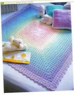 patrones - Patrones de Mantitas para bebés (Tejidas a crochet para Marijou) V4cy37