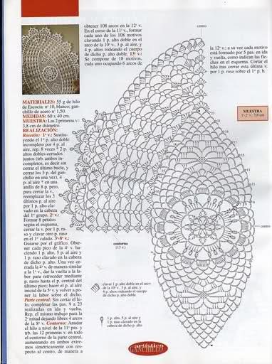 CROCHET - Varios patrones para realizar UN MANTEL a crochet 107qiat