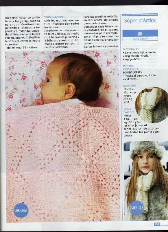 patrones - Patrones de Mantitas para bebés (Tejidas a crochet para Marijou) 28ugqi8