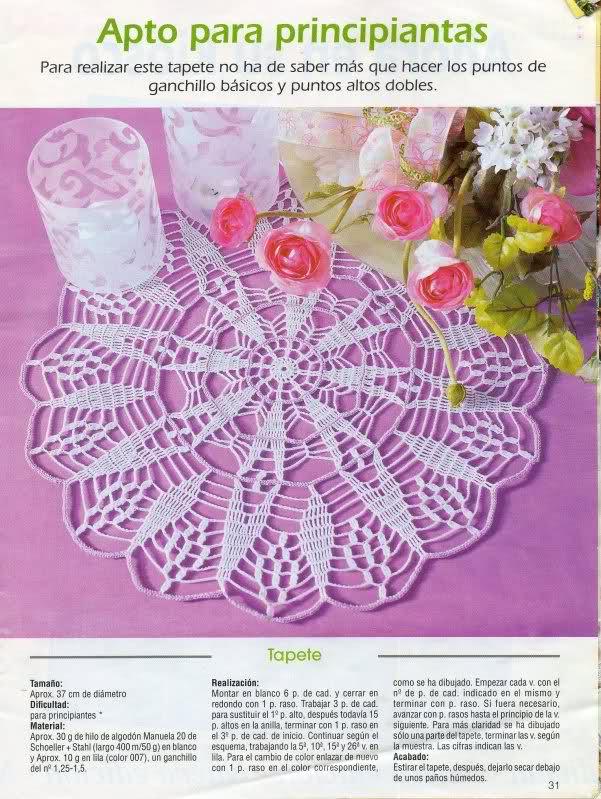 CROCHET - Patrón para realizar tapete en redondo a crochet (en dos colores) 2b1955