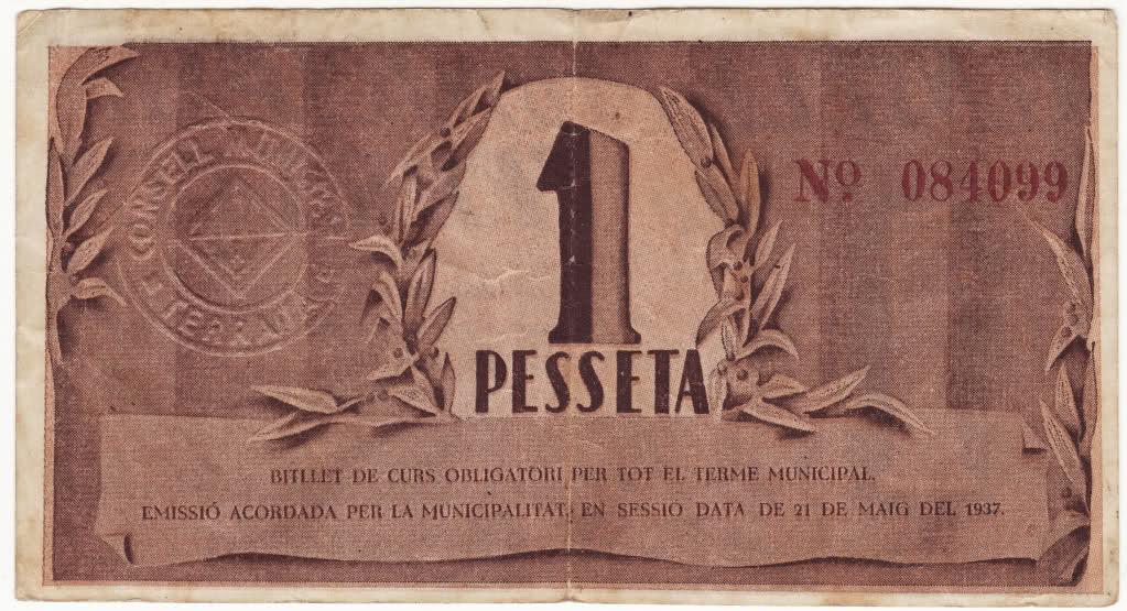 1 peseta de Terrassa 1937. 2dvim34
