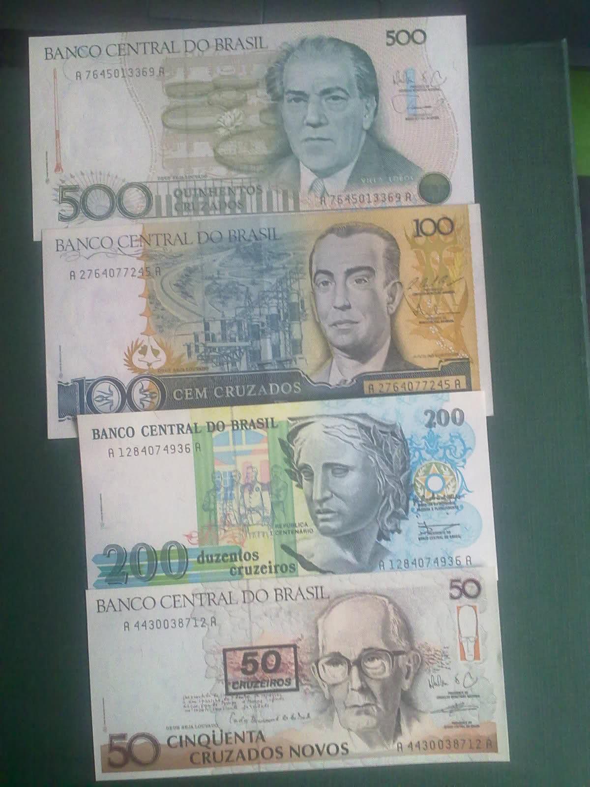 Billetes Brasil 500-200-100-50 cruzados 2nv42tf