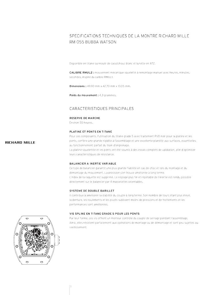 RICHARD MILLE - RM 055 BUBBA WATSON N37qrd