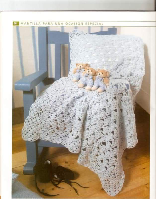 patrones - Patrones de Mantitas para bebés (Tejidas a crochet para Marijou) Swyd5h