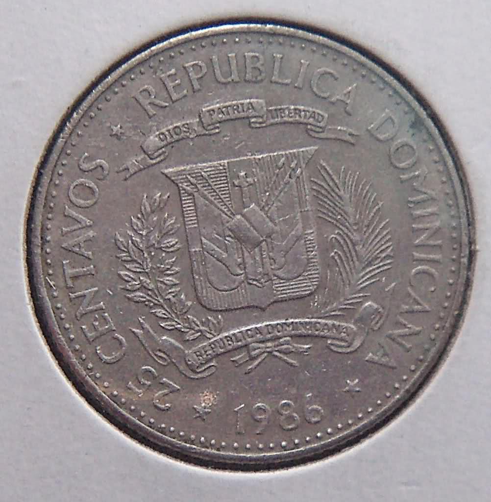 República Dominicana: 25 Centavos de 1986 Rcrk06