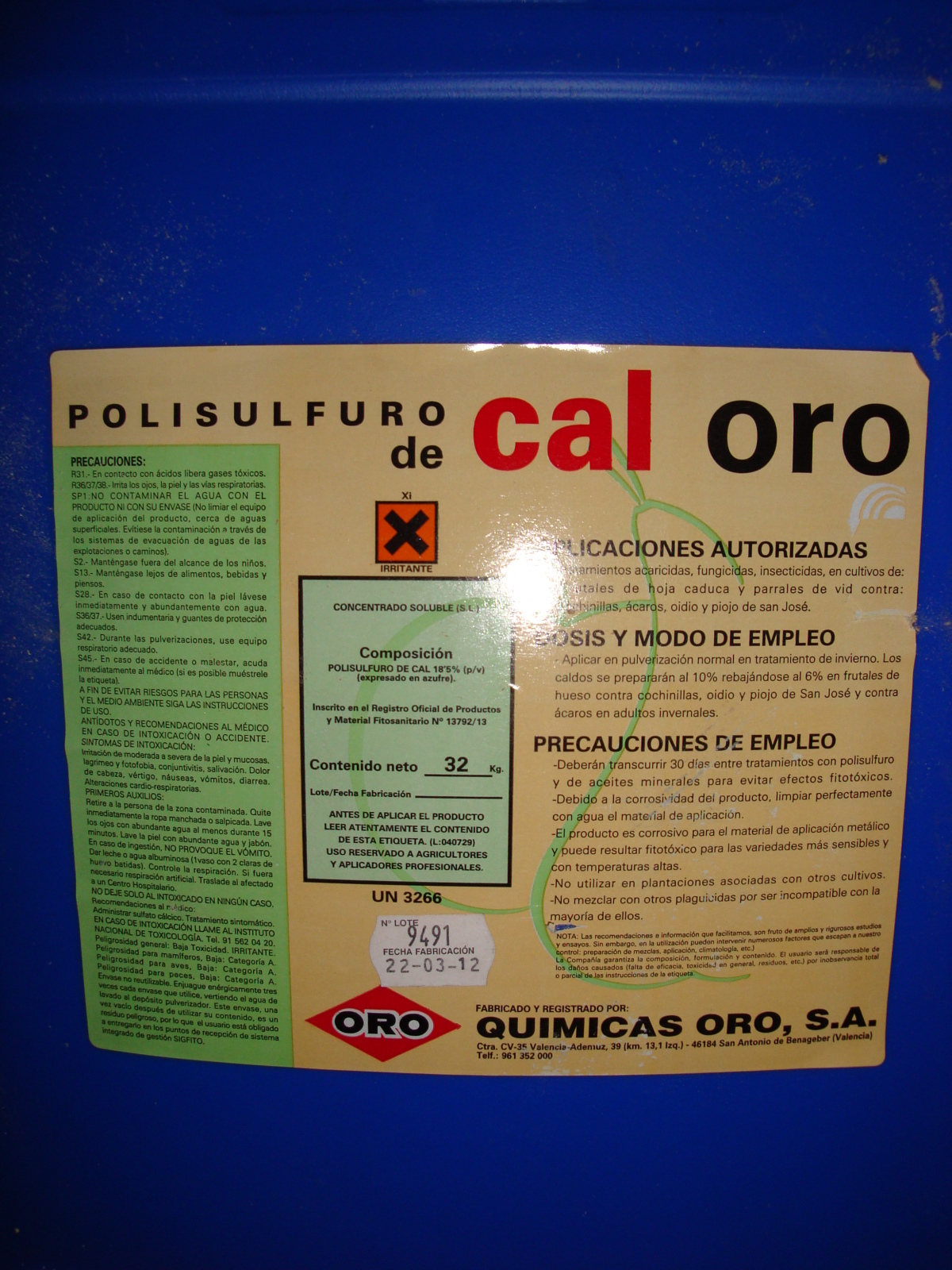 POLISULFURO DE CALCIO 16j10dh