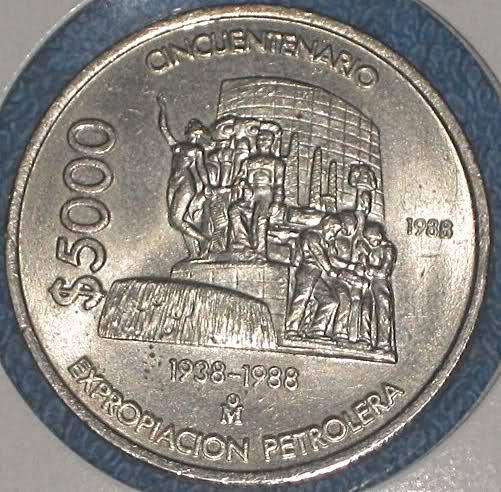 México: 5000 Pesos de 1988 (Aniversario de la Expropiación Petrolera) 120mheb