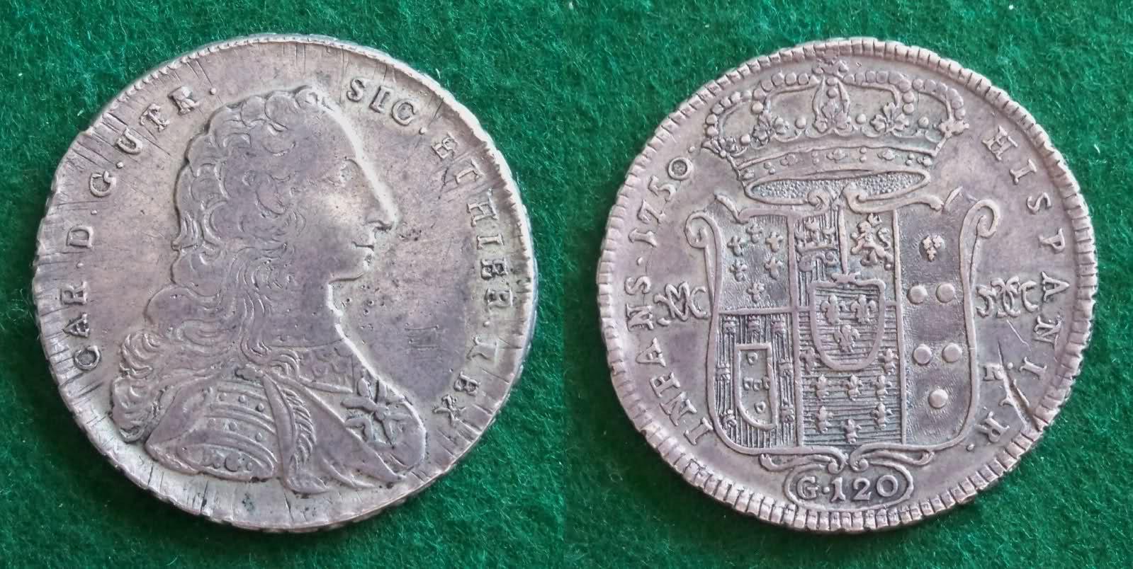 120 Granas 1750. Carlos VII de Nápoles. El cordoncillo napolitano de ultramar. 2qlfo8k
