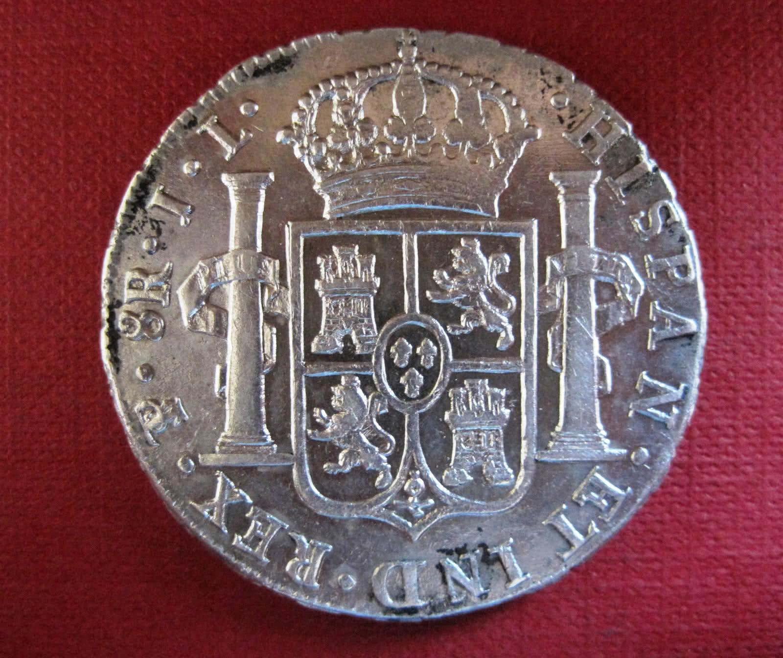 8 Reales 1825. Fernando VII. Potosí. 10h28no