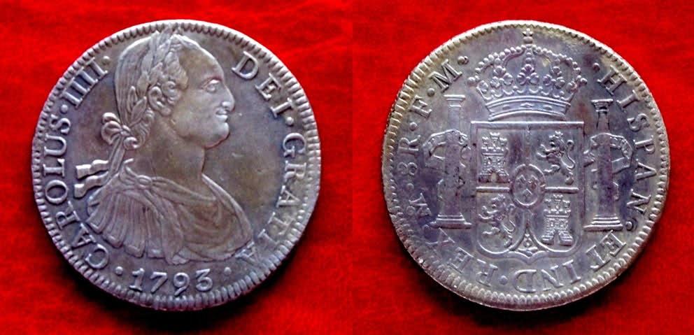 8 Reales 1793. Carlos IV. FM. Méjico. El Cerdo del Neptuno. 23komsp