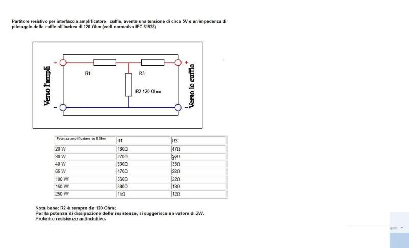 Partitore resistivo per collegamento amplificatore-cuffie 2kmyo6