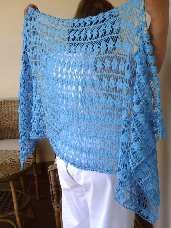 tejido - Mi chal color azul tejido a crochet 30aca48