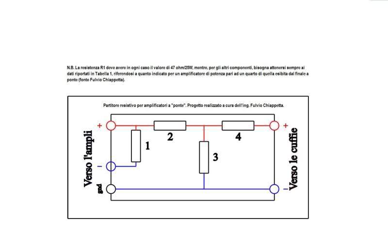 Partitore resistivo per collegamento amplificatore-cuffie 2r7u1yu