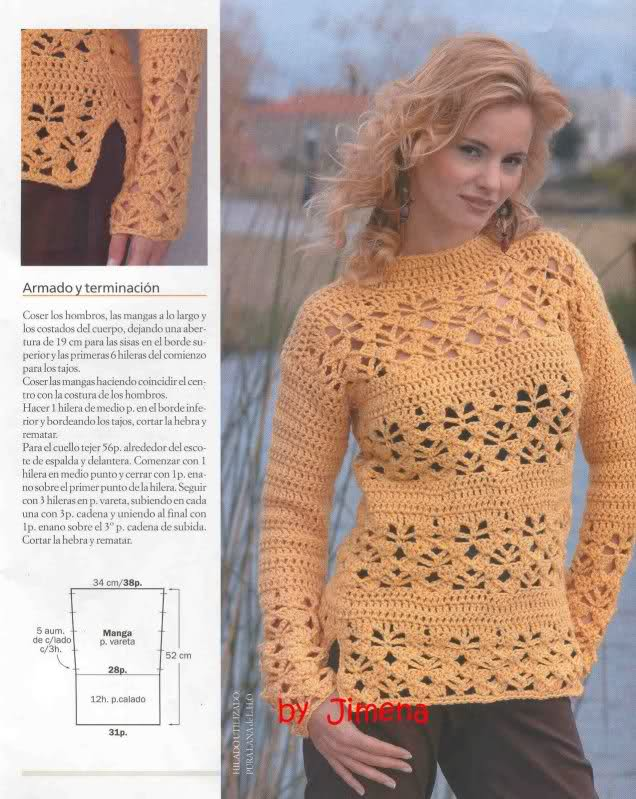 Crochet - Sueter de mangas cortas 21lic81