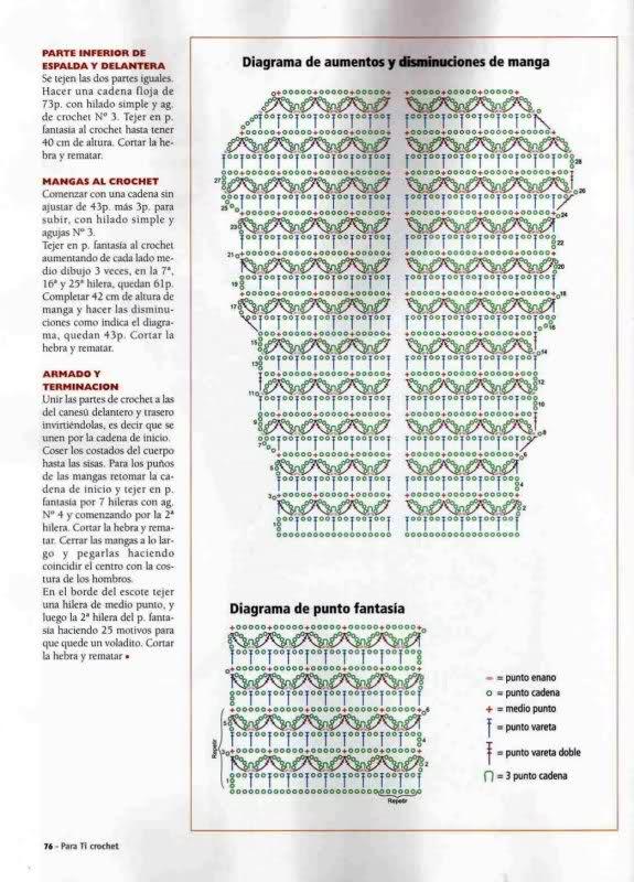 Crochet - Sueter de mangas cortas 2427tcl
