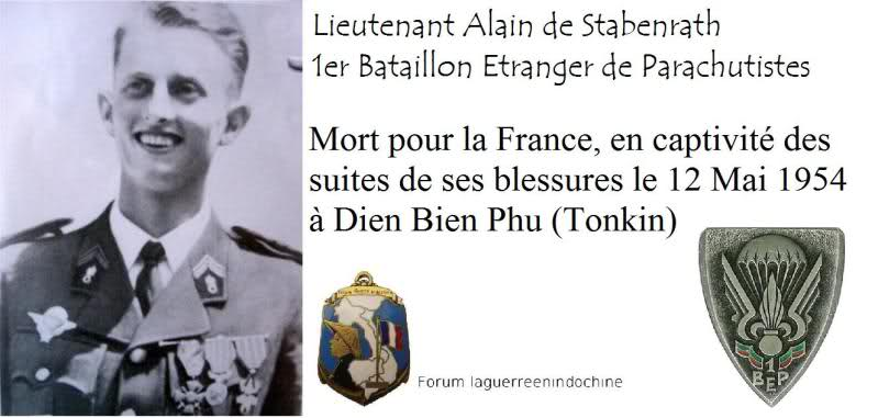 Lieutenant Alain DE STABENRATH, 1er BEP, MPLF en 1954 24x2trb