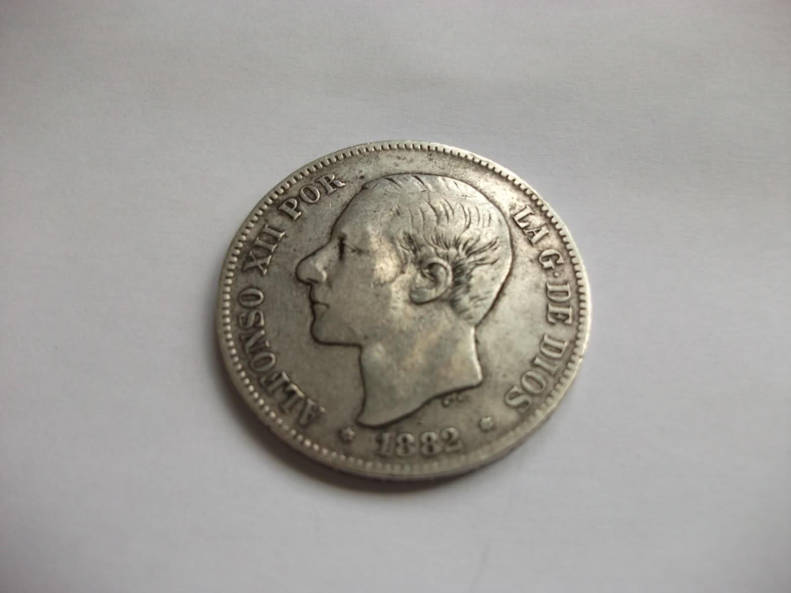 5 ptas de plata Alfonso XII, marca en estrella al revés. 263wwn7